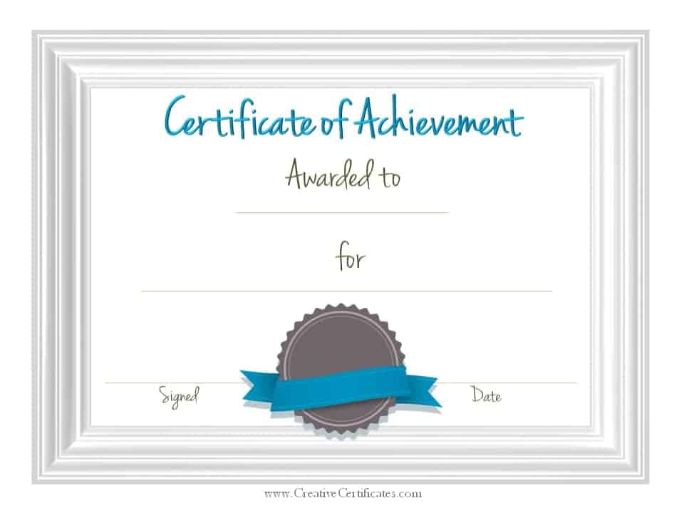 Superb Sample Achievement Certificate Template  Free Achievement Certificates