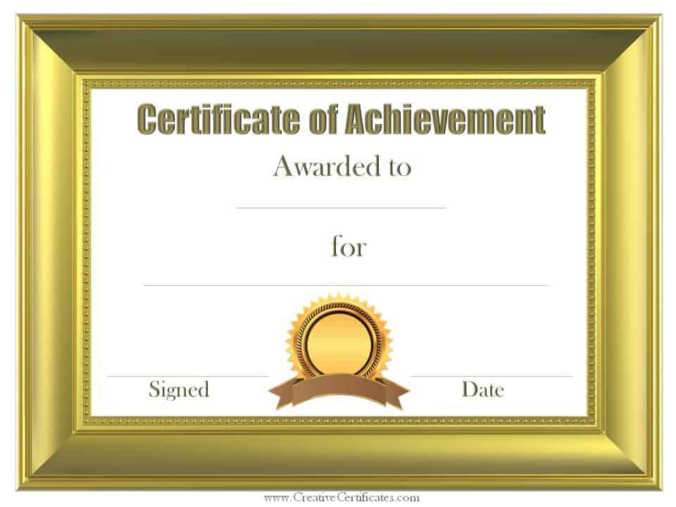 Bronze Border  Certificates Of Achievement Free Templates