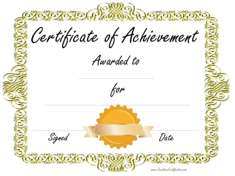 Customized Sample Achievement Certificate Template · Customize U0026 Print ·  Gold Border With Gold Ribbon  Certificate Of Achievement Template