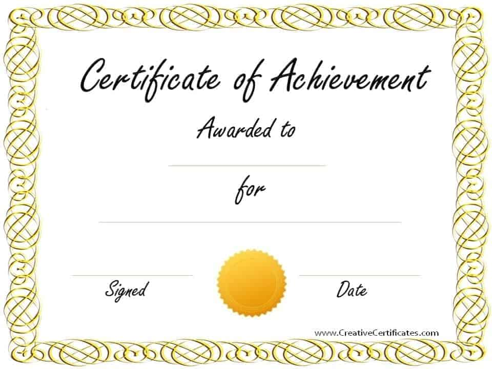 Free Customizable Certificate of Achievement – Free Customizable Printable Certificates of Achievement