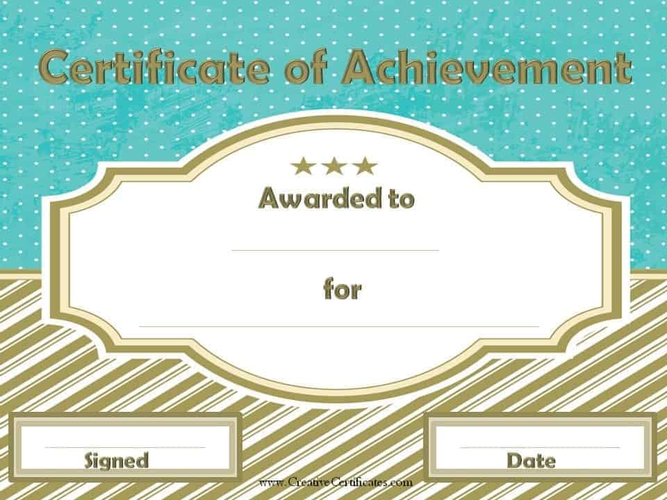 Free Customizable Certificate Of Achievement