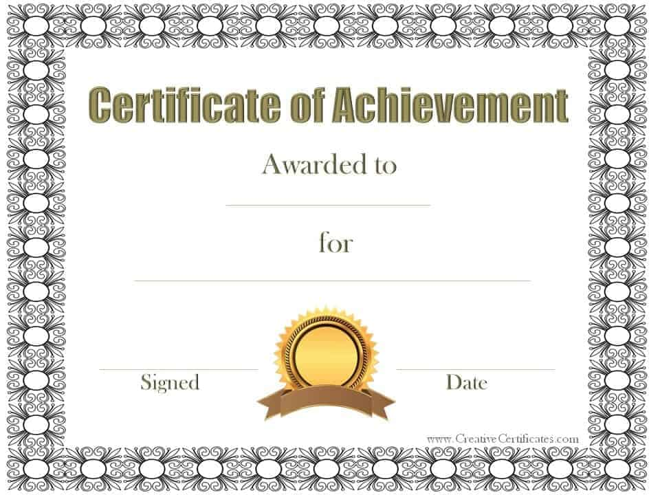 Black Patterned Border  Certificates Of Achievement Free Templates