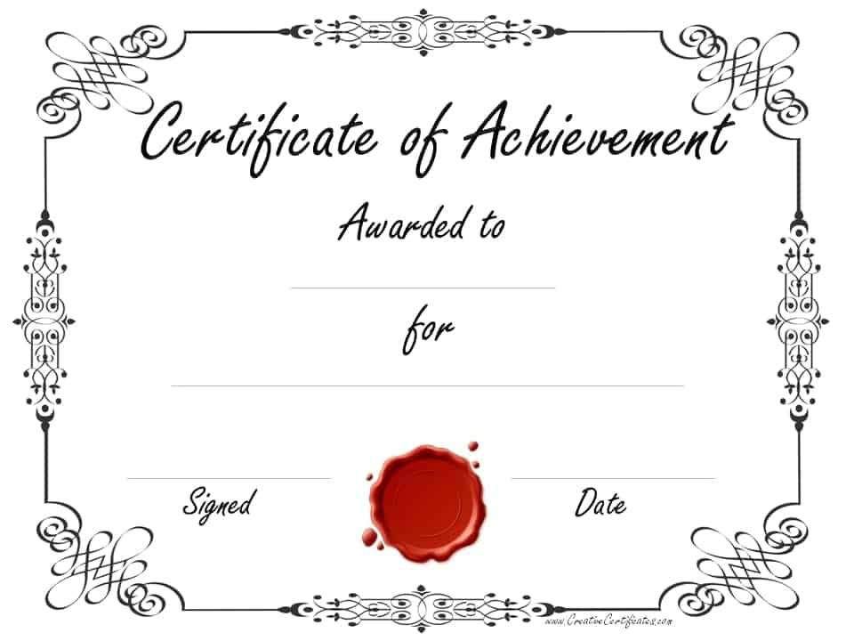 Black And White Certificate Templates  Printable Certificates Of Achievement