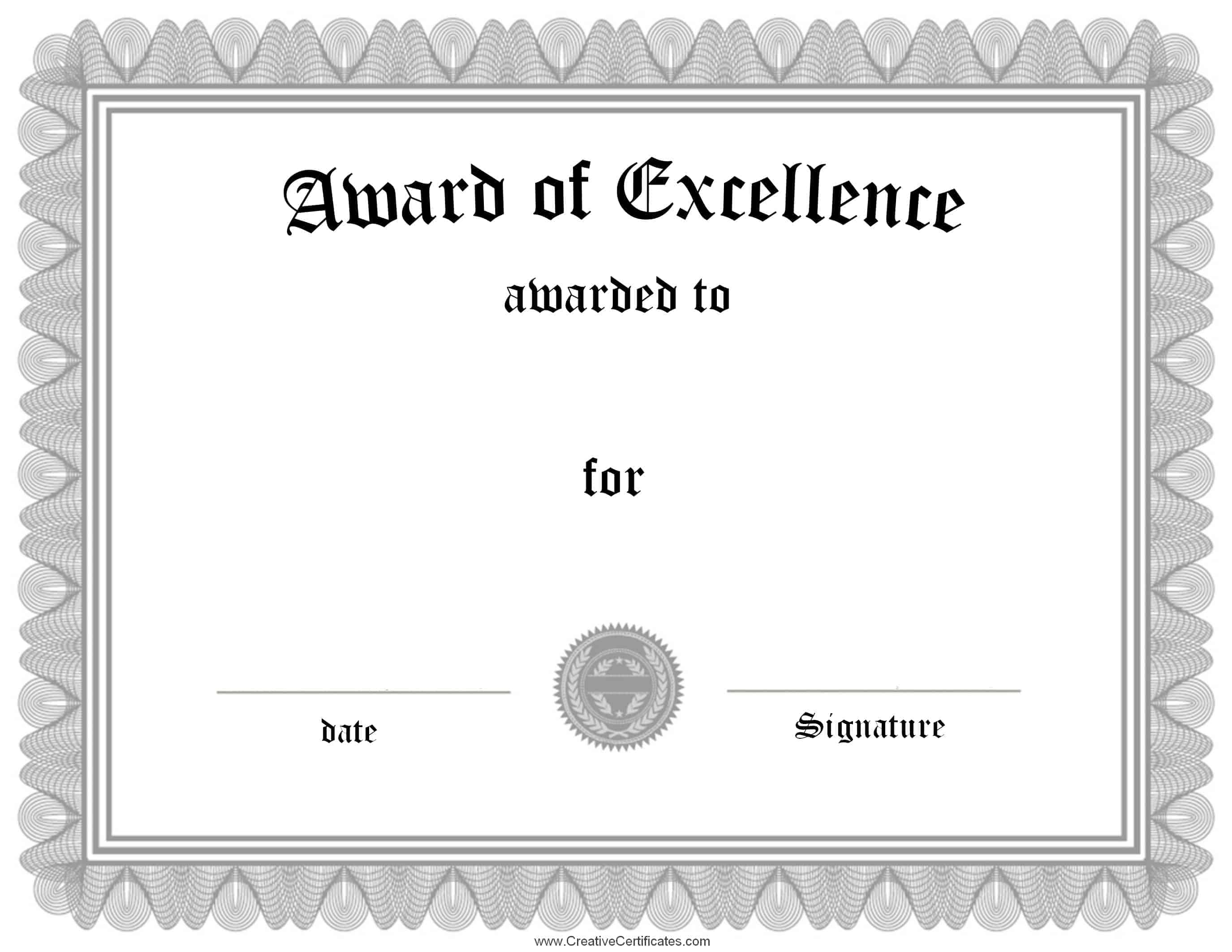 Award Of Excellence  Free Certificate Templates Word