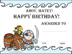 Happy birthday certificate