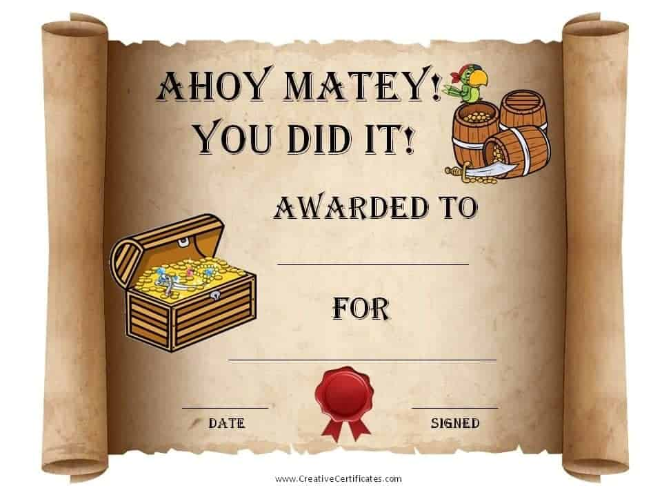 Free Printable Pirate Certificates for Kids