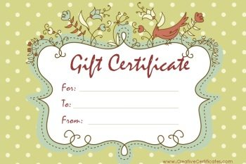 Free gift certificate template customize online and print at home certificate maker microsoft word template light green polka dot background with ornate frame with birds and flowers yelopaper Gallery