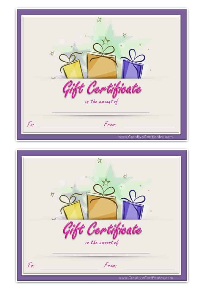 Free Gift Certificate Template – Birthday Word Template