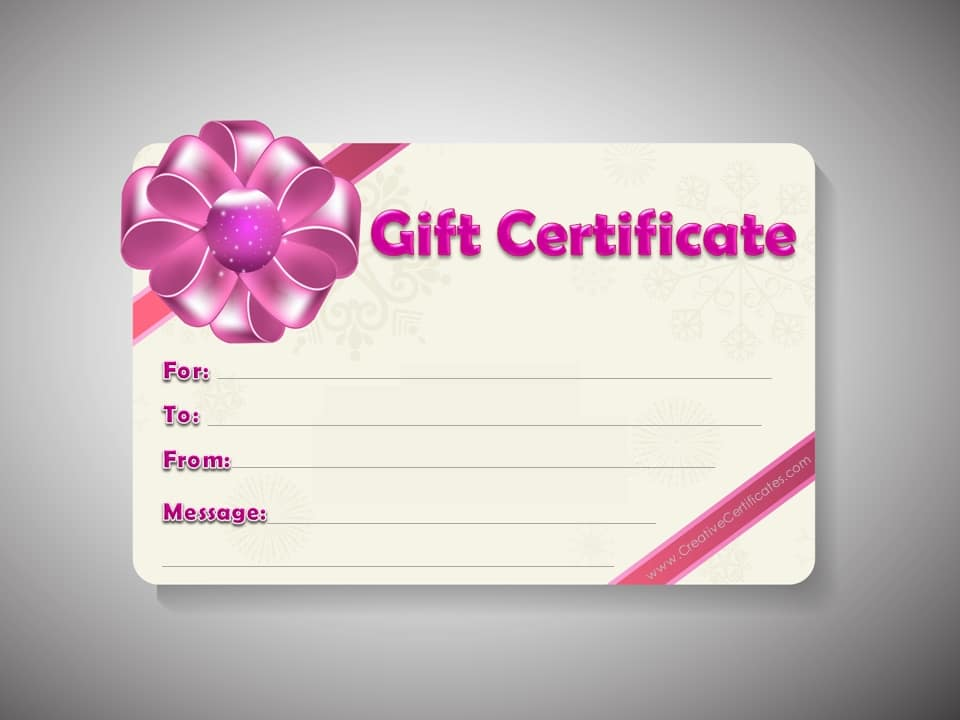 gift cards templates  Free Gift Certificate Template | Customize Online and Print at Home