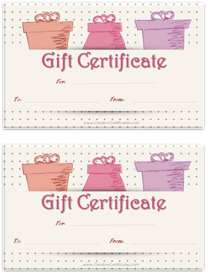 Free gift certificate template customize online and print at home white background with grey polka dots and 3 pictures of gifts yadclub Images