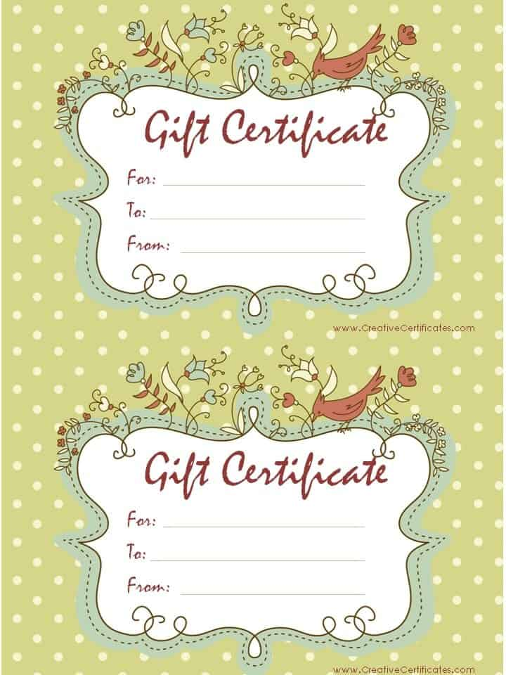 Certificate Maker. Microsoft Word Template. Light Green Polka Dot  Background With Ornate Frame With Birds And Flowers.  Editable Gift Certificate Template
