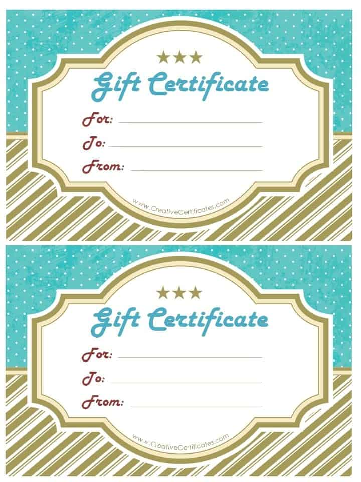 Free gift certificate template customize online and print at home gift certificate template with gold stripes at the bottom and blue polka dots at the top yadclub Image collections