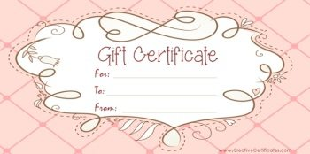 Free Printable Pink Gift Certificate With A Brown Drawing  Blank Gift Vouchers Templates Free