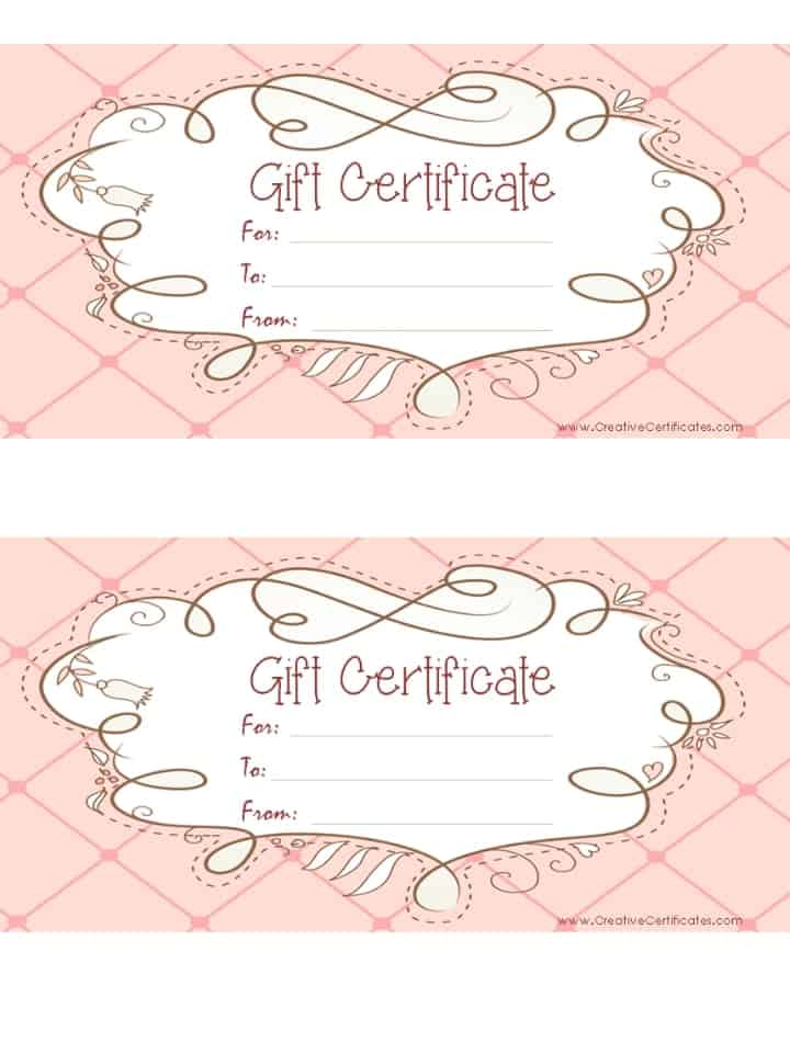 Good Free Printable Pink Gift Certificate With A Brown Drawing Regarding Printable Gift Voucher Template