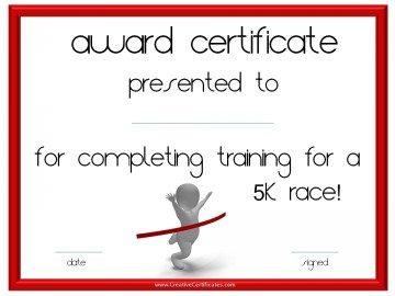 5 k race certificate