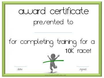 10 k race certificate