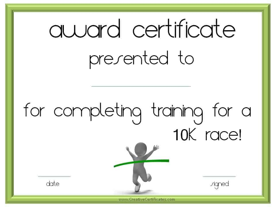 Running certificate templates free customizable 10 k race certificate yadclub Image collections