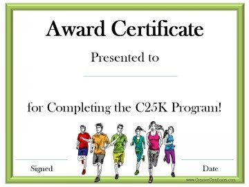 Certificate for completing the c25k program