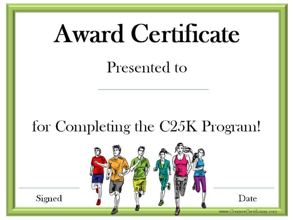 Running certificate templates free customizable certificate for completing the c25k program yadclub Image collections