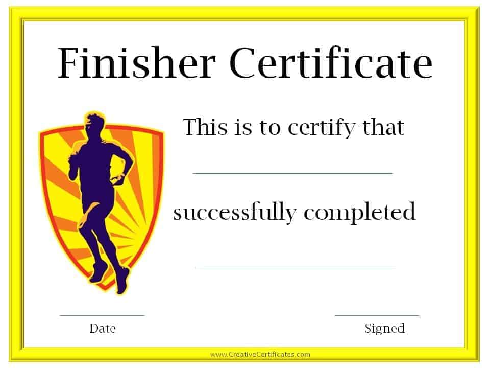 Running certificate templates free customizable for Fun run certificate template