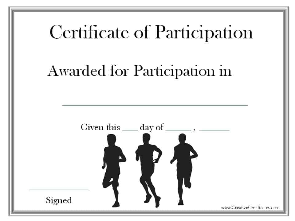 Running certificate templates free customizable for Cross country certificate templates free