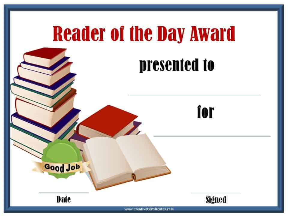 Reading awards and certificate templates free customizable reader of the day award yadclub Choice Image