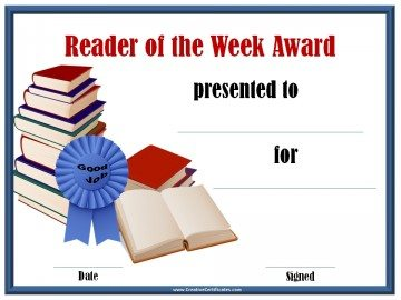 Reader of the week award certificate