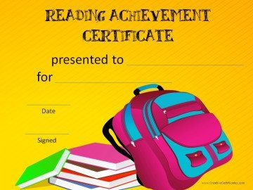 Reading achievement certificate