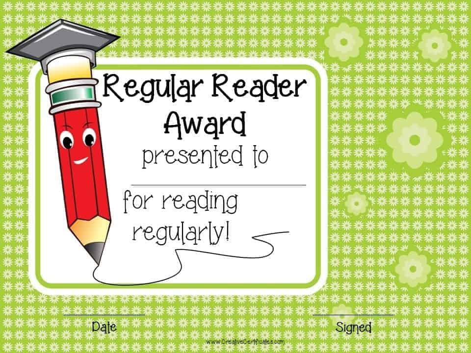 Reading awards and certificate templates free customizable regular reader award yadclub Choice Image