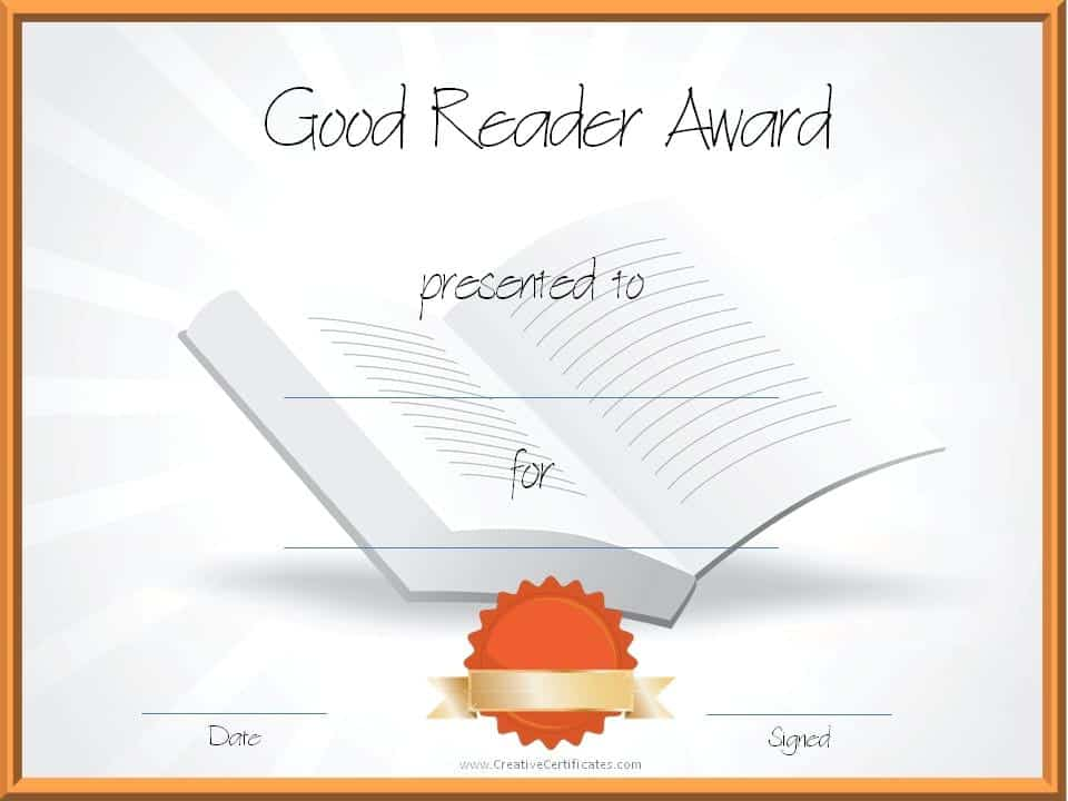 Reading awards and certificate templates free customizable reading certificate template good reader award for students yadclub Choice Image