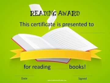 Reading award certificate