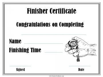 running finisher certificate