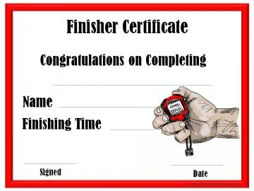 running event finisher certificate