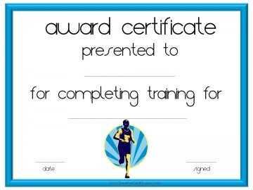 training certificate for runners