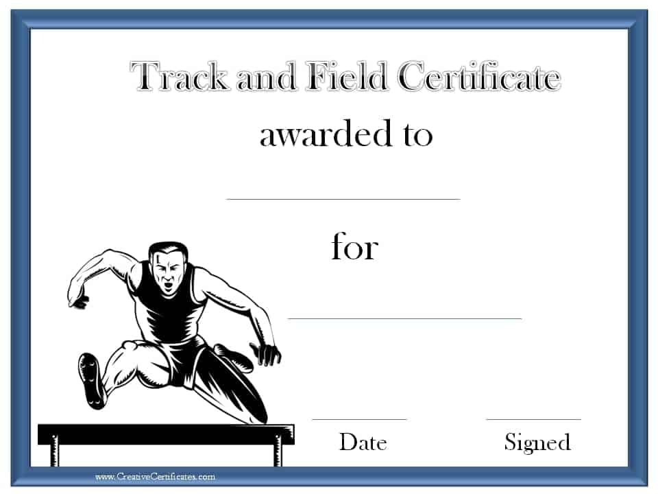 Track and field certificate templates free customizable track and field award certificate yadclub Images