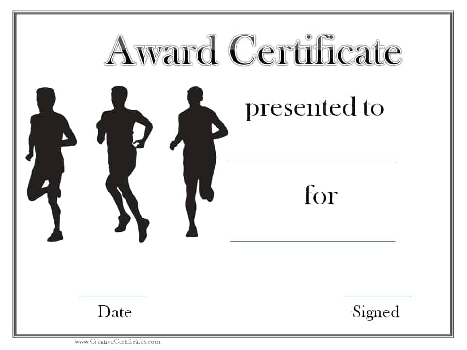 Track and field certificate templates free customizable black and white sports award yelopaper Gallery