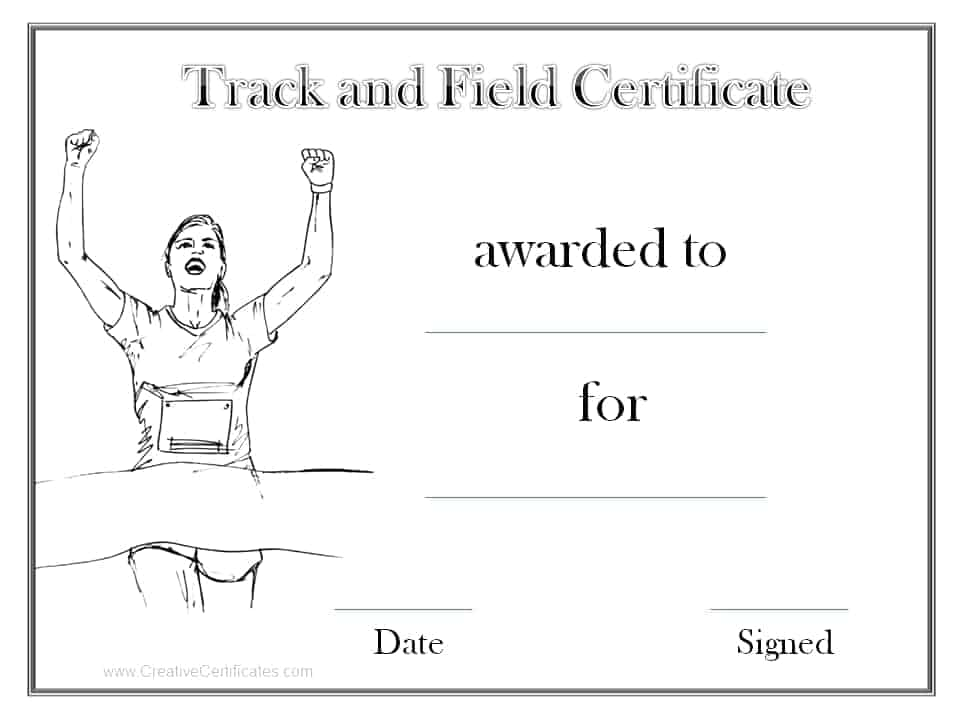 Track and field certificate templates free customizable black and white track and field award yadclub Images