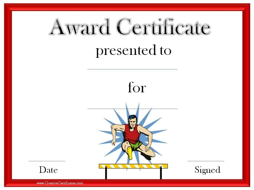 Track and Field Certificate Templates Free Customizable – Sports Award Certificates