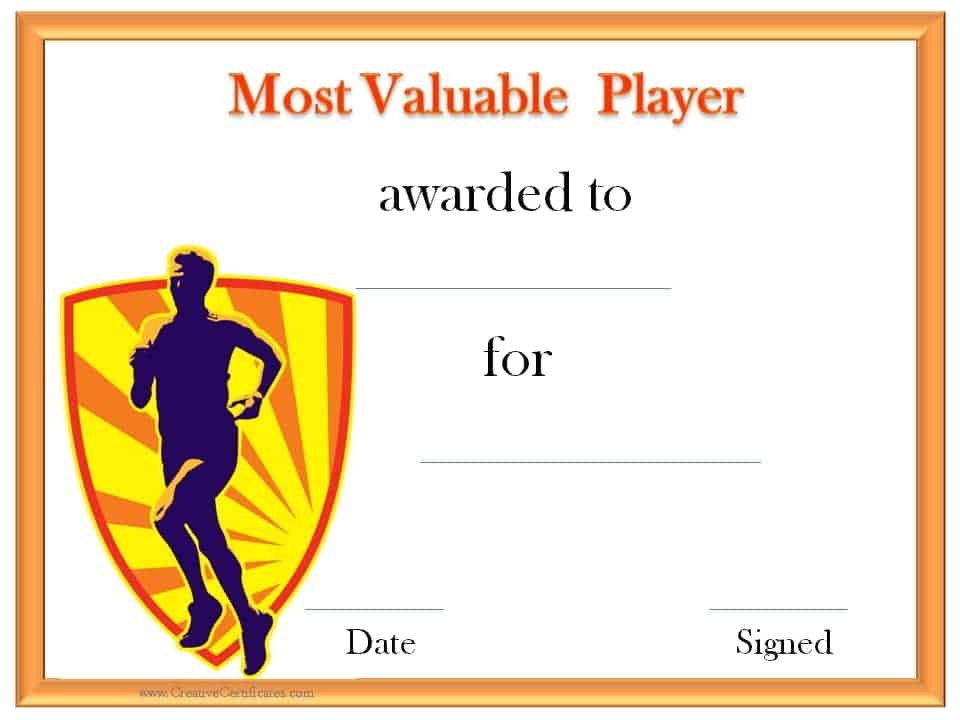 Track and field certificate templates free customizable mvp certificate yadclub Images