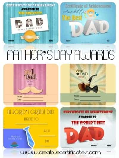 Fathers day award certificates fathers day award certificates yadclub Gallery