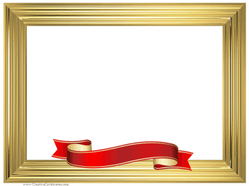 Gold certificate border with red ribbon