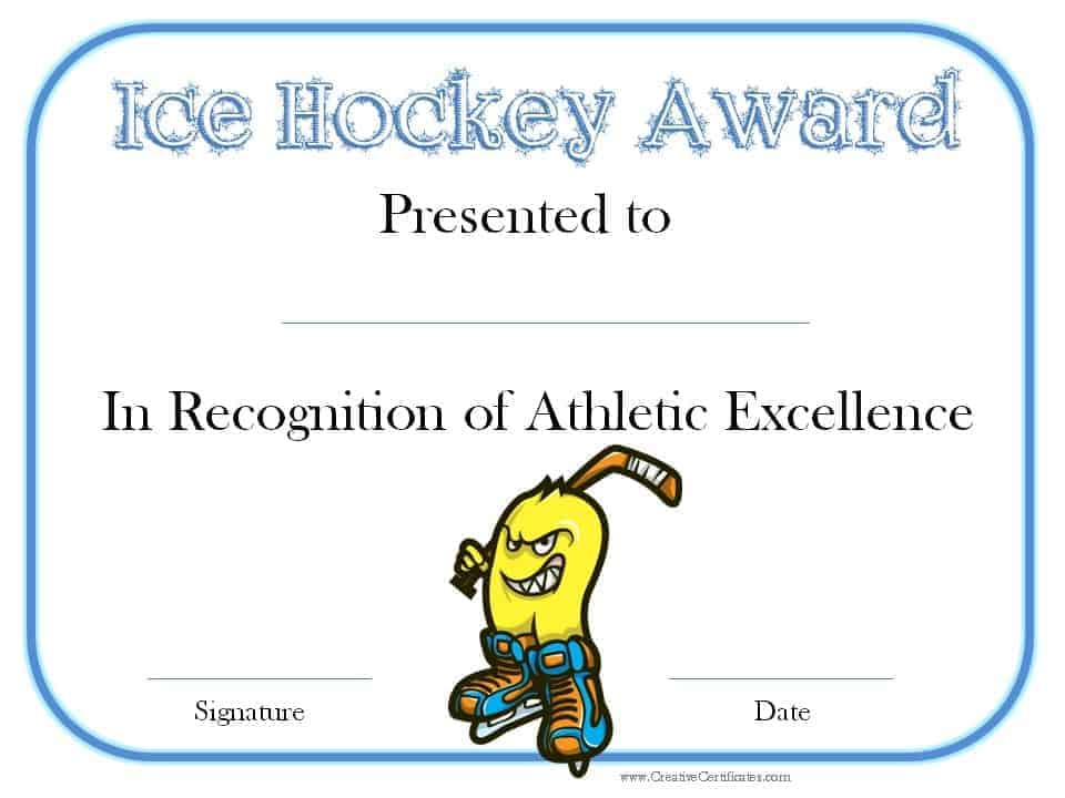 Hockey Awards  Excellence Award Wording