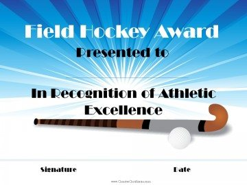 Field hockey award of recognition