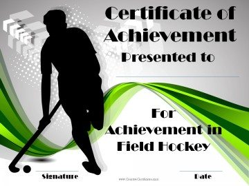 Hocky Certificate of Achievement