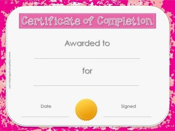 Award certificate with pink background with a gold seal.
