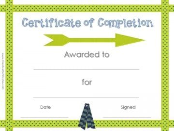Award Certificate for Completing Something with Polka dot ribbon border with a green arrow and blue ribbons.