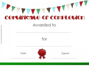 Printable Certificate Template with colored flags and a red wax seal.