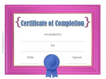 Printable certificate with pink frame and a blue award ribbon.