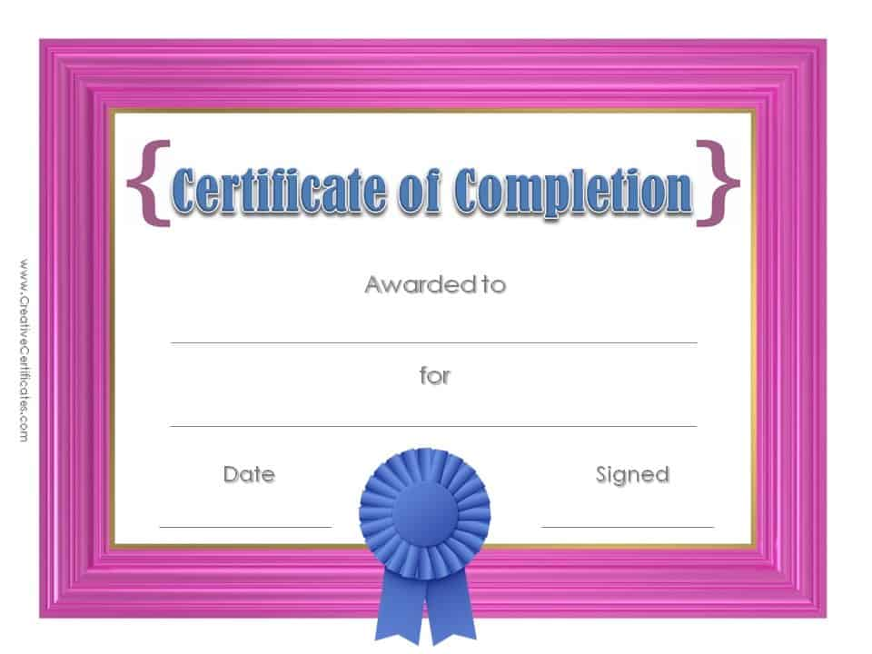 Certificate of completion template customize online printable certificate with pink frame and a blue award ribbon yelopaper Image collections