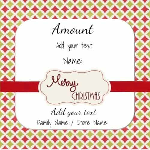 Xmas Gift Card That Can Be Customized  Christmas Gift Card Template